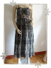 Magnifique Robe Fantaisie Imprimé Marron à Bretelles Taille 38 / 40