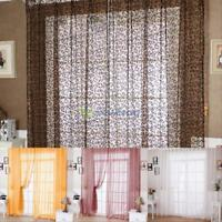 Floral Voile Door Scarf Valance Drape Sheer Window Curtains Balcony Living Room