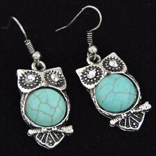 Tibetan Style Turquoise Cute Owl Earrings EH107