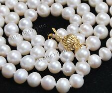 """Long 25"""" 7-8mm Real Natural White Akoya Cultured Pearl Jewelry Necklace"""