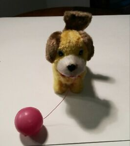 Vintage Wind-up Dog with Ball & Spinning Tail Mechanical - Works - Made in Korea