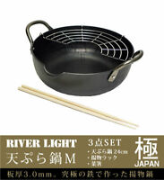 RIVER LIGHT Kiwame Ultimate Iron TEMPURA Pot 24 cm with rack IH/ gas New