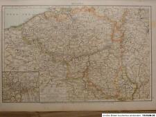 Landkarte von Belgien, Brabant, Limburg, Flandern, Velhagen & Klasing 1893