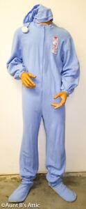 Big Baby Jammies Costume Adult 2 Pc Blue Footie Back Flap Jammies W/ Cap