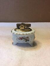 Vintage Porcelain Base Brass Table Top Cigarette Lighter