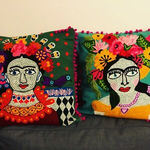 """Frida CAT Cushion cover Indian Embroidered pompom 19x19"""" hippy ethnic Ian Snow"""