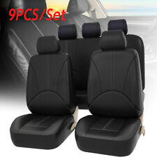 9Pcs Black PU Leather Car Seat Cover Full Set Front Rear Cushion Mat Protector