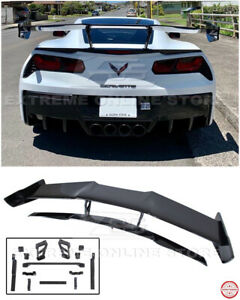 ZR1 Style CARBON FLASH Rear Wing Spoiler With Bracket For 14-19 Corvette C7 BASE