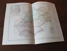 1850 Carte Géographique Atlas époque couleur Département Lot 46 Cahors