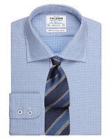 T.M.Lewin Mens  Regular Fit Blue Diamond Check Shirt – Button Cuff