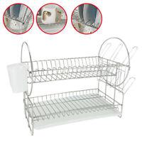 2-Tier Dish Drainer Stainless Steel Draining Cup Holder Rack Shelf  Sink