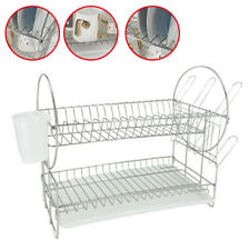 2-Tier Dish Drainer Stainless Steel Draining Cup Holder Rack Shelf  S
