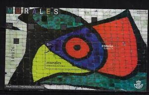 """Spain: 2015; Souvenir Sheet proof, """"muestra"""" mural painting, EBES098"""