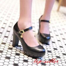 Women's Ladies Cute Mary Janes Block High Heels Round Toe Lolita Dress Shoes Sz