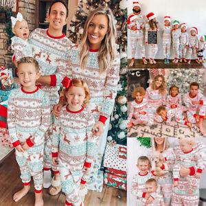 Family Matching Adult Kids Christmas Pyjamas Nightwear Sleepwear Xmas PJs Set✅