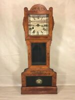 Ant Reeds Tonic Miniature Grandfather Clock Time Only Runs Incised Design Case