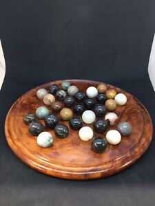 Vintage Burr Walnut Solitaire Board Game With 33 Polished Glass/Stone Marbles