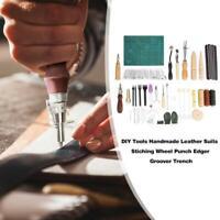50PCS Leather Craft Tools DIY Work Set Sewing Carving Stitching Punch Saddle