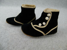 Fancy vintage black cloth Doll Shoes w Leather Soles for French Bebe German Doll