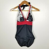 Islander Black Red Hibiscus Floral One Piece Swimsuit Halter Modest Womens Sz 8