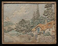 """Vintage 1920-30's Claycraft Lg 16"""" x 12 3/4"""" Thatched Roof Cottage Scenic Tile"""