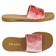 38.5 NEW $590 PRADA Pink PLUSH VELVET Single Strap Spring Summer SLIDES SANDALS
