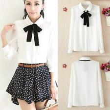Women Bow Tie Blouses Cotton Peter Pan Collar Casual Shirt Ladies Tops JJ