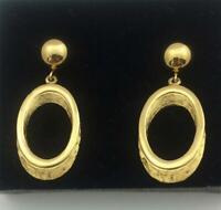 Vintage TRIFARI Gold Tone Oval Dangle Clip Earrings