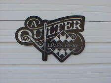 "A Quilter Lives Here - Blue Metal 24"" x 16"" (approx)..65. Barn Quilt Block Sign"