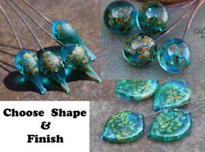 Aqua Raku - Aqua Blue Glass Lampwork Headpins MTO SRA elasia