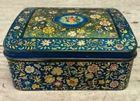 Vintage George W. Horner & Co. Blue and Floral Design Tin from England