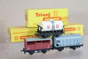 TRIANG T74 T77 T171 TT GAUGE RAKE of 3 BR BULK GRAIN UD & CATTLE WAGON BOXED oa