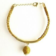 CAPIM ORO VEGETABLE GOLD BRACELET GOLD PLATED WOVEN BALL GLOBE STRAND ADJUSTABLE