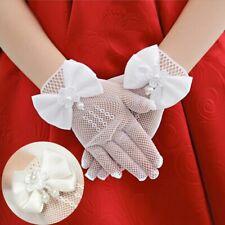 Kids Lace White Pearl Bow Mesh Short Gloves Wedding Flower Girl Party Gloves