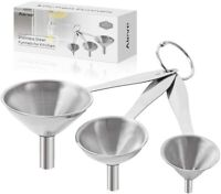 3 Packs Stainless Steel Funnel Small Medium Large with Metal Long Handle Tools