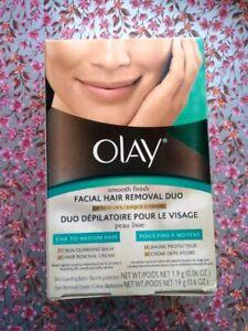 Olay Smooth Finish Facial Hair Removal Duo Skin Balm & Removal Cream Fine Medium