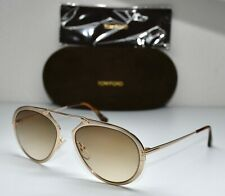 TOM FORD DASHEL TF508 28F SHINY GOLD GRADIENT BROWN AVIATOR SUNGLASSES. 53mm