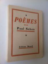 Livre Poèmes de Paul Sabon frontispice 1ère édition sur beau papier 1937