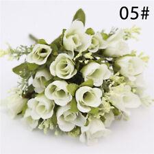 20-Head Artificial Bouquet Silk Fake Flowers Wedding Party Garden Home Decor