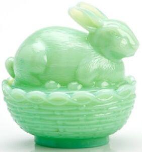 Bunny Rabbit on Basket Dish - Jade Jadite Jadeite Green Glass - Mosser USA