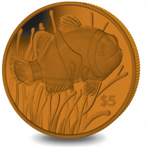 2018 $5 British Virgin Islands Clownfish Orange Titanium Coin w/box & COA Nemo