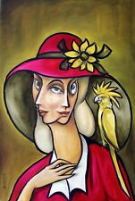 "ORIGINAL Painting  Oil canvas 36x24"" CONTEMPORARY Art by Pronkin 1996 WITH BIRDS"