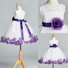 White Floral Lace Purple Rose Petal Tulle Dress  Flower Girl Easter Toddler #25