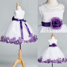 White Floral Lace Purple Rose Petal Tulle Dress  Flower Girl Easter Toddler #25