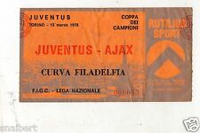 CALCIO   BIGLIETTO  TICKET   COPPA  DEI  CAMPIONI JUVENTUS  AJAX  15-3-1978