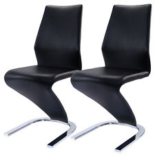 2 pcs dining chairs pu leather high back furniture home dining room - Dinette Chairs
