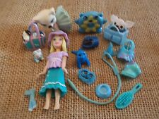 """Polly Pocket Lot """"Colors of the Rainbow"""" Doll Blue Pets Cat Dog Accessory L38"""