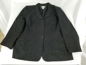 VTG Womens Pendleton Blazer Jacket Plus 100% Virgin Wool Black Purple Size 22W