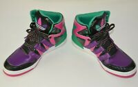 Girls Shoes PURPLE STRIPE HIGH TOP FASHION SNEAKERS Neon Accents SIZE 13 1 2