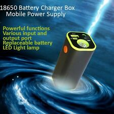 Portable LED Flashlight Backup External Battery Charger Box Power Bank Pack Case